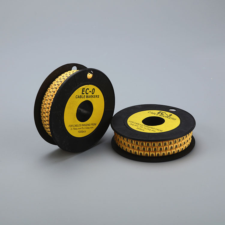 PVC Yellow Color Flat Tubing Number 0-9 Cable Marker